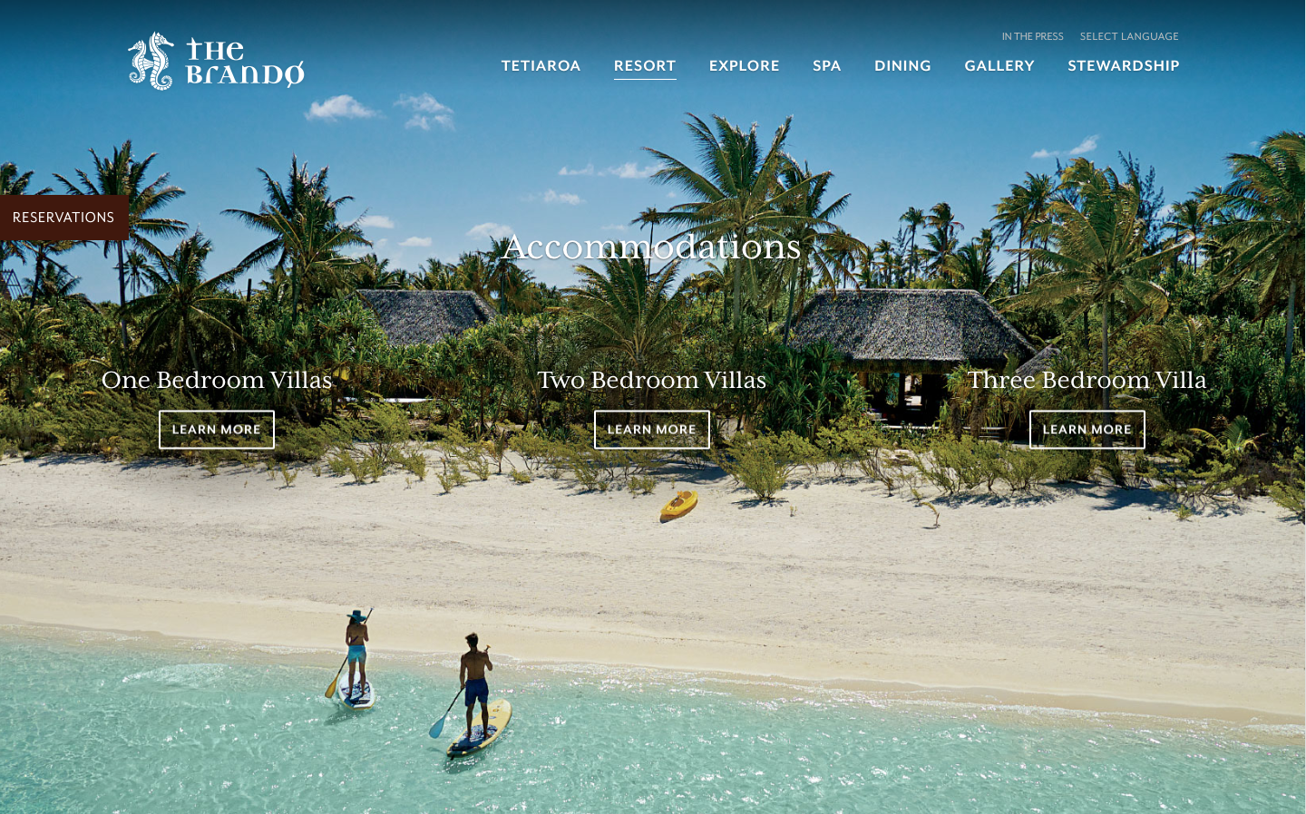 The Brando's website accommodations page
