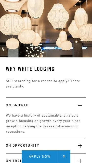 The mobile view of one of White Lodging's website pages