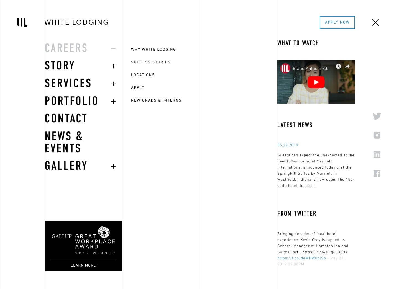 White Lodging's website navigation bar