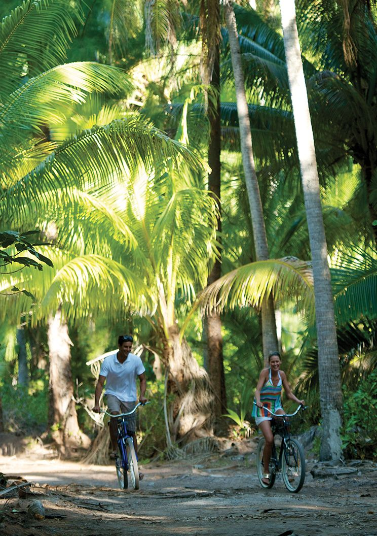 A man and woman cycling on sand between palm trees at The Brando