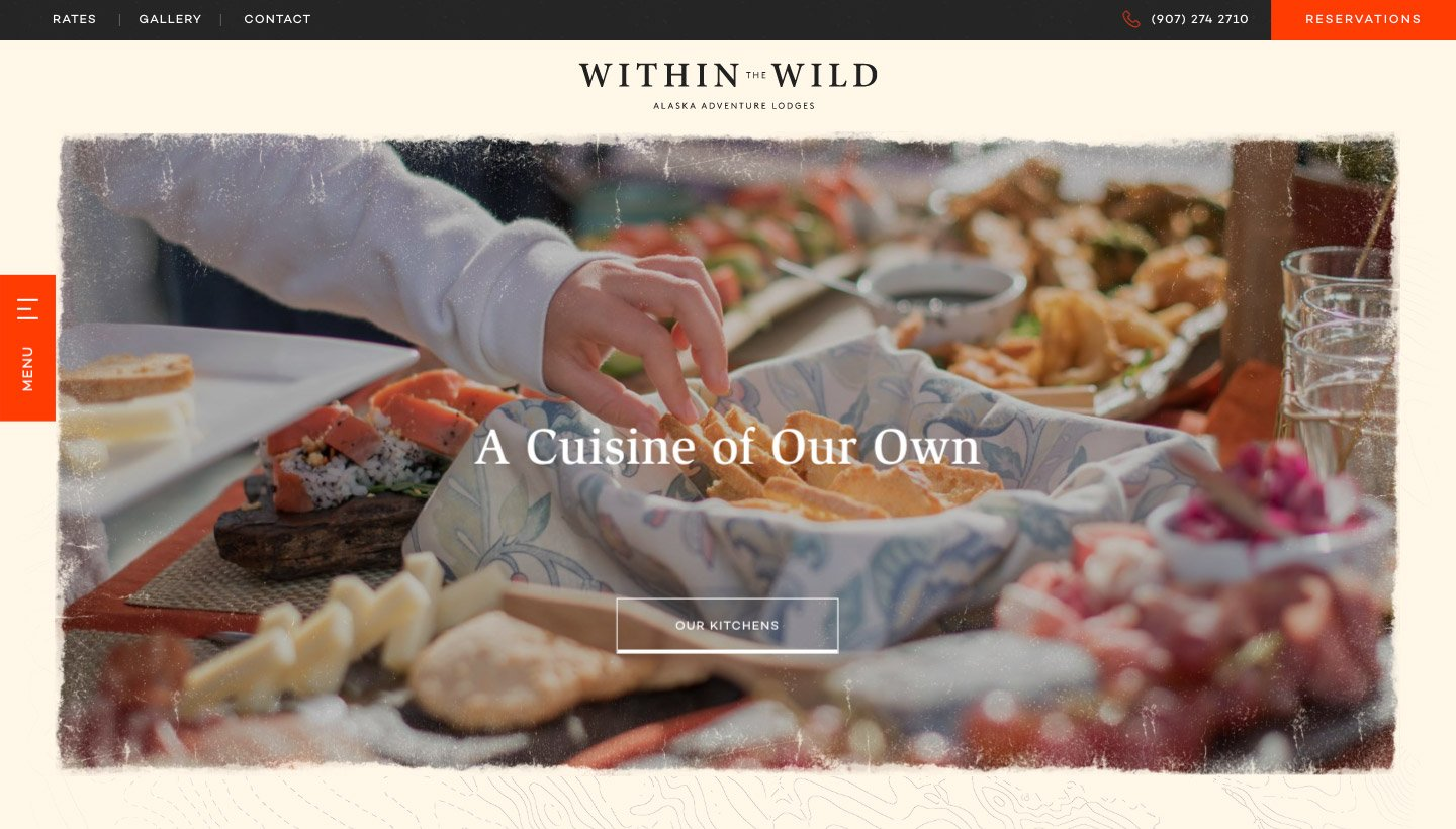 One of Within The Wild's culinary website pages