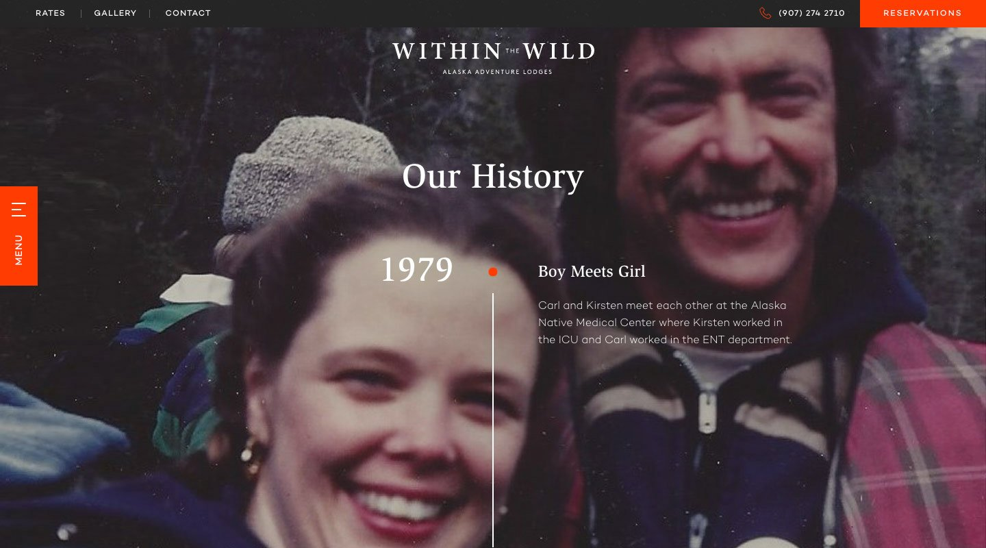 Within The Wild's history website page