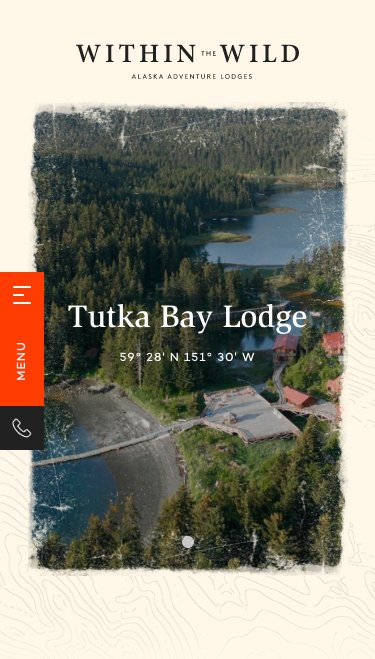 Within The Wild's mobile Tutka Bay Lodge website page