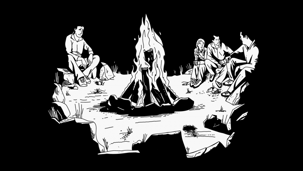 Illustration of people sitting around a campfire