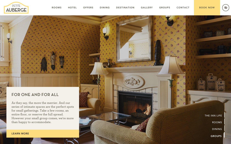Petite Auberge hotel website home page