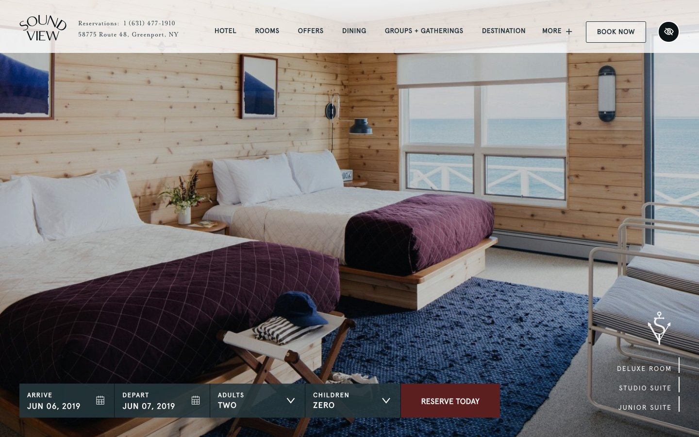 Sound View hotel website page. Landscape image.