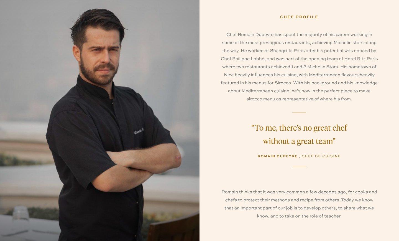 Screenshot of Chef's Profile