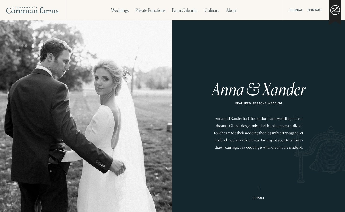 Screen shot of Featured Wedding page