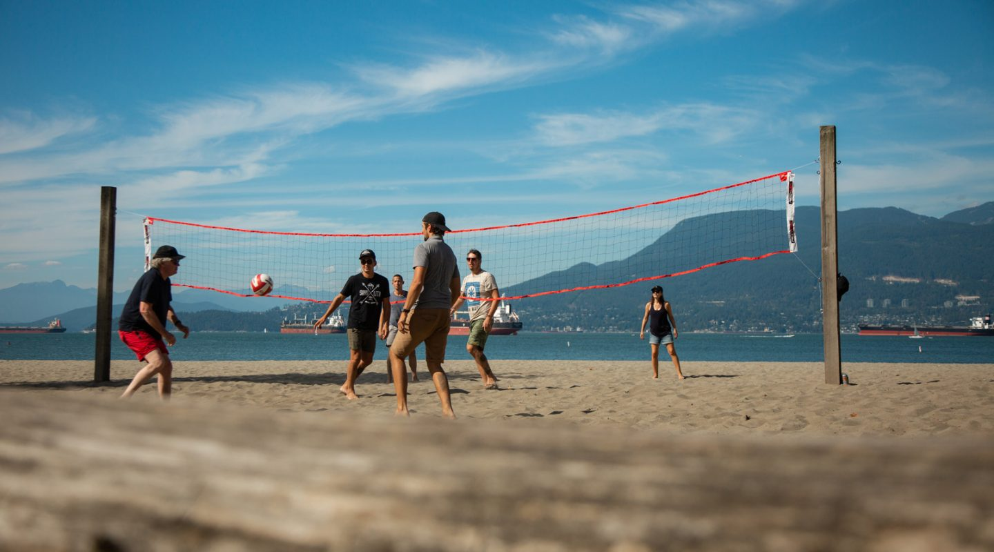 The team playing volleyball