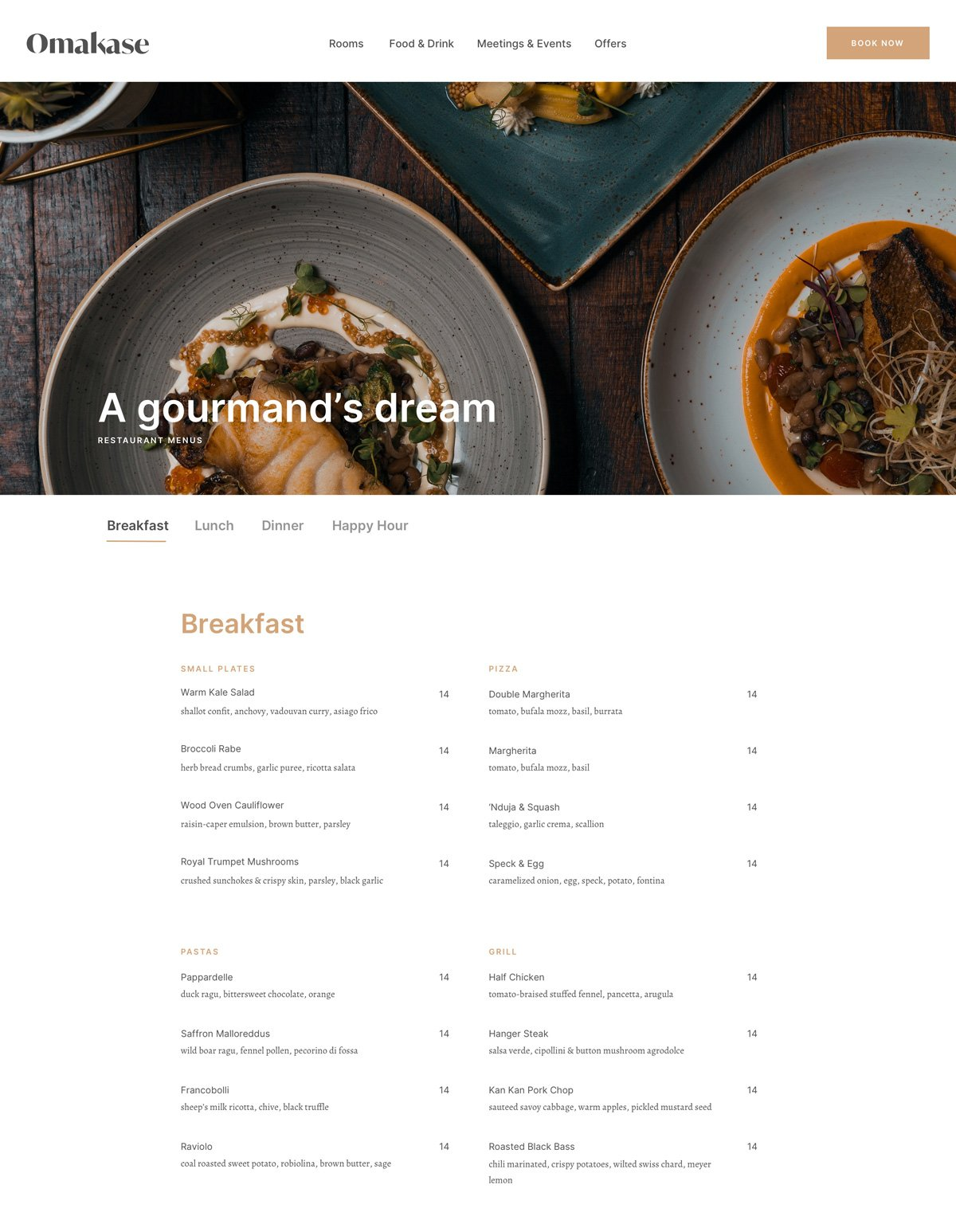 Omakase restaurant page screenshot