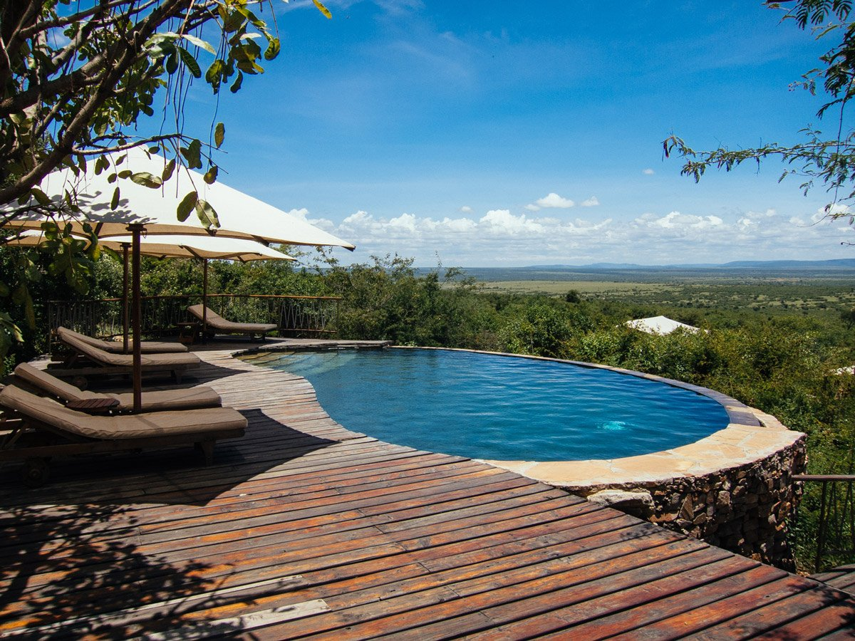 The pool surrounded by nature at Bushtops Camps