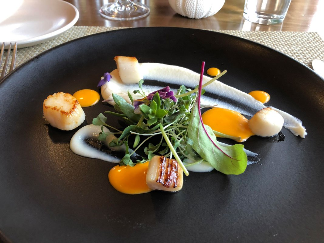 A dish with scallops and salad