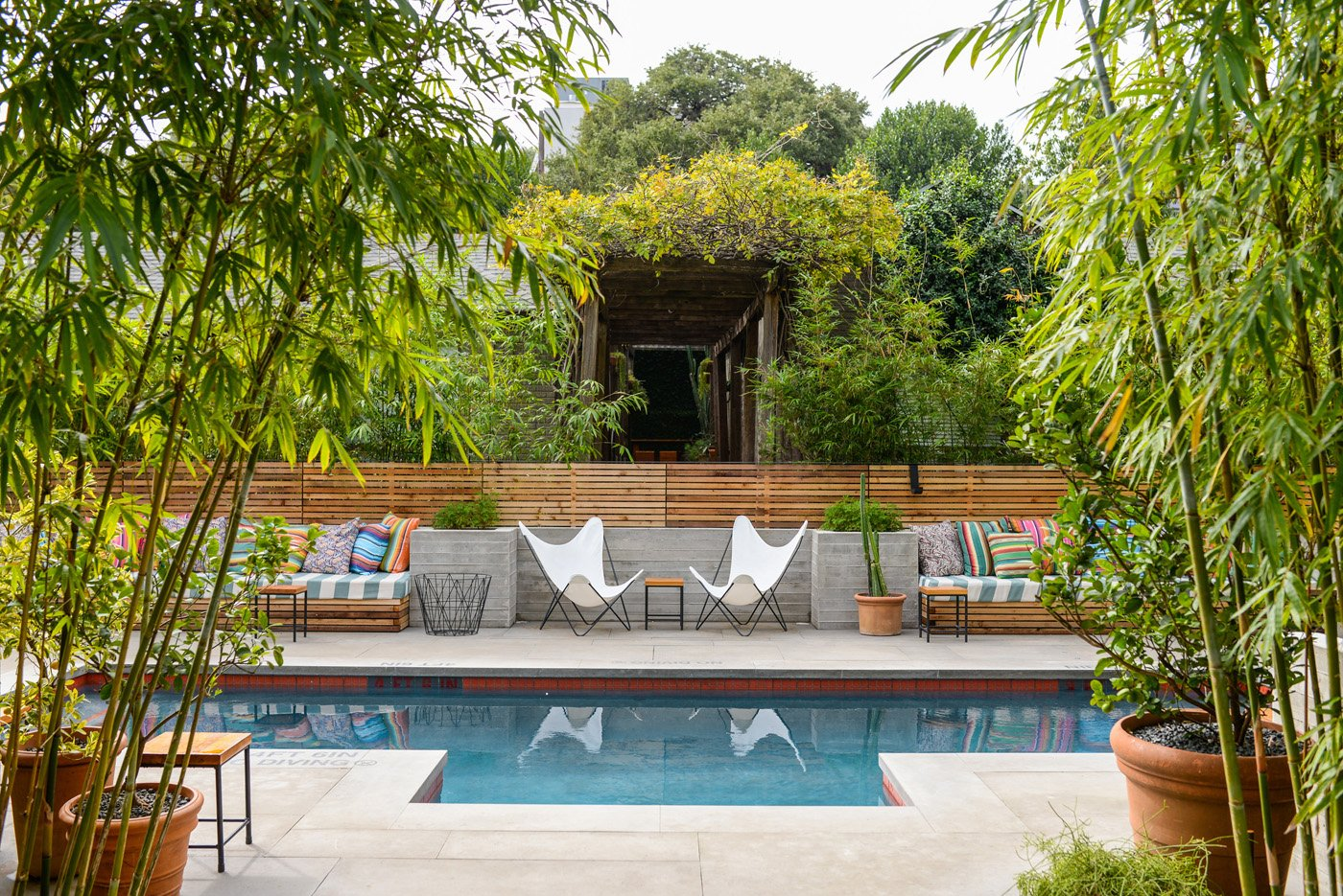 Pool and courtyard surrounded by lush trees