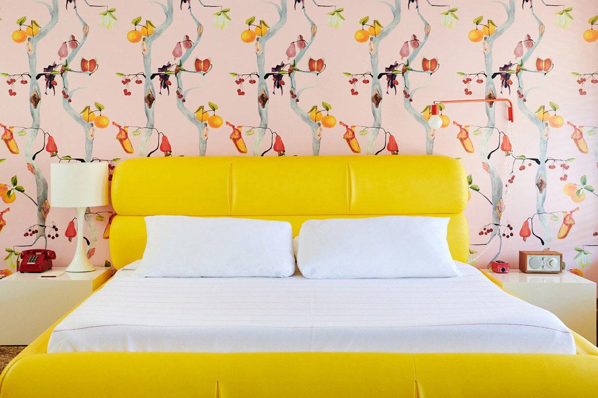 Yellow bed at Austin Motel