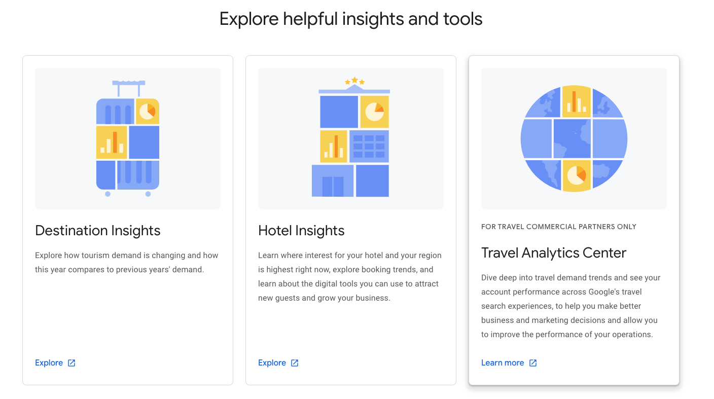 The three features of Google Travel Insights: Destination Insights, Hotel Insights, and travel Analytics Center